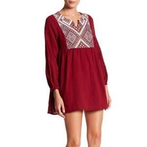 Boho Red Wine Aztec Tunic Dress